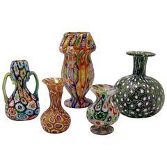 Set of Five Murano Vintage Nice Glass Vases Millefiori B, circa 1910