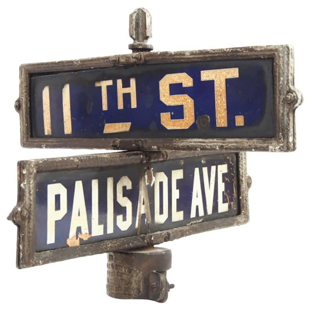 Antique Newyork New Jersey Double Street Sign Palisade