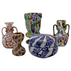 Set of Five Murano Vintage Nice Glass Vases Millefiori, circa 1910