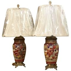 Pair of 19th Century Imari Satsuma Table Lamps