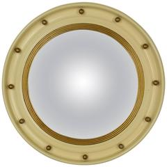 Cream and Gold Regency Style Bulls Eye Convex Mirror
