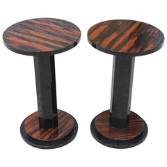 Pair of French Art Deco Exotic Macassar Ebony End Tables, circa 1940s