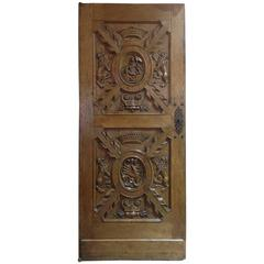 Intricately Hand-Carved European Door in High Relief, circa 1750