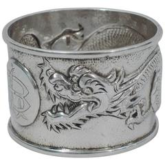 Chinese Export Silver Napkin Ring with Dragon