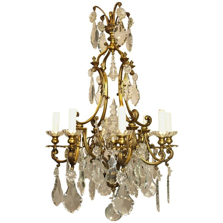 Antique Chandelier Gilt Bronze and Crystal For Sale at 1stdibs