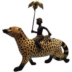 Ardmore South African Ceramic Rider with Parasol on a Wild Dog