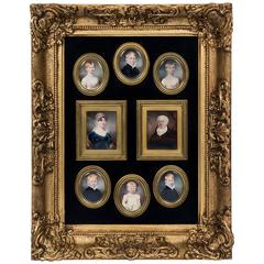 Interesting High Quality Regency Family Group of Miniatures, Dated 1812