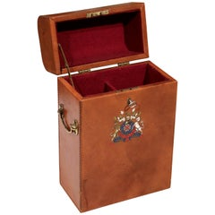 Early 20th Century French Leather Two-Wine Bottle Case with Engraved Crest