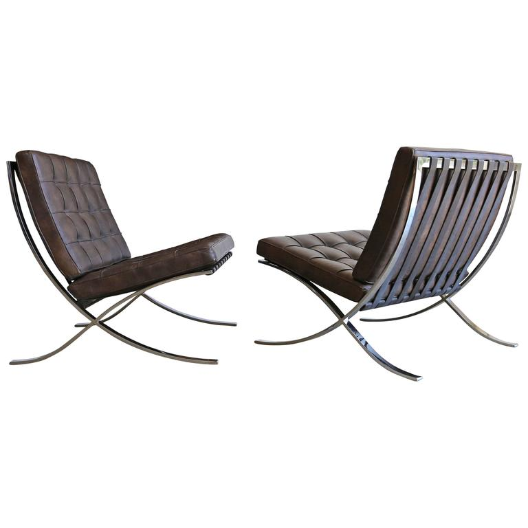 Rare Barcelona Chairs By Ludwig Mies Van Der Rohe For Gerald R Griffith Sale