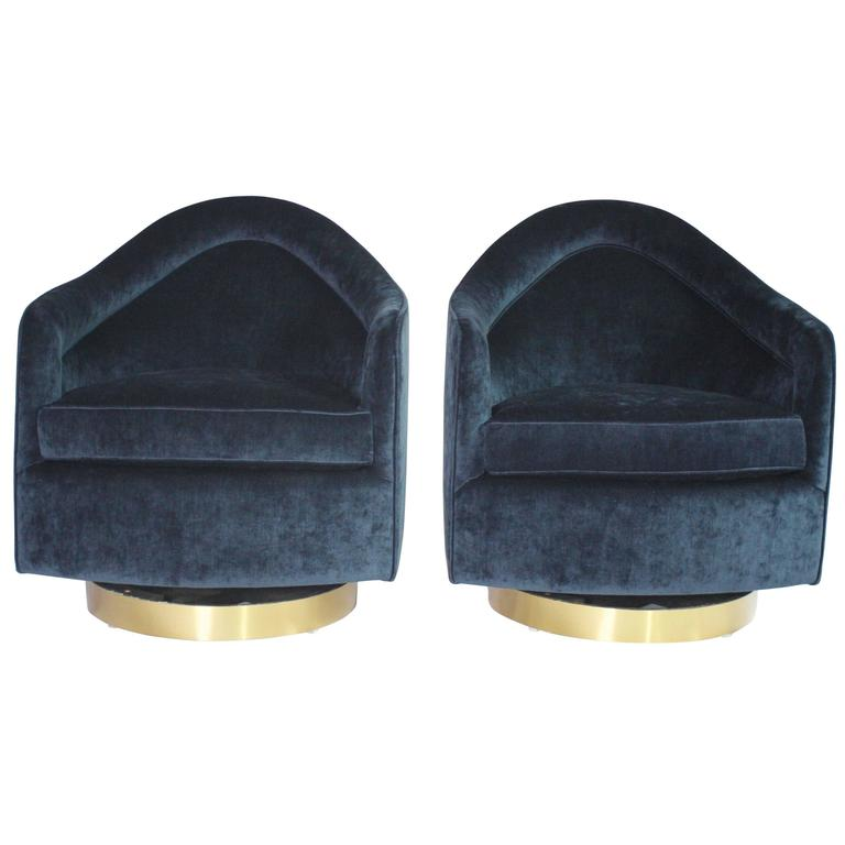 Milo Baughman Teardrop Swivel Chairs in Blue and Gold 1