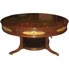 French Empire Mahogany and Gilt Bronze-Mounted Four-Drawer Center Table