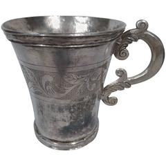 Antique South American Silver Mug with Scrolls and Leaves
