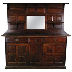 1890 Large Canadian Wooden Two-Piece Sideboard