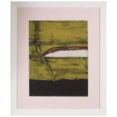 Mid-Century Abstract Expressionist Monoprint Yellow Composition by Kenjilo Nanao