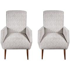 Sophisticated Pair of Mid-Century Club Chairs in the Manner of Marco Zanuso