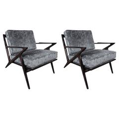 Mid-Century Pair of Easy Chairs by Poul Jensen for Selig