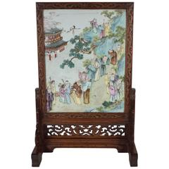 Exquisite Antique 19th Century Chinese Export and Rosewood Table Screen
