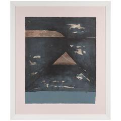 Mid-Century Abstract Expressionist Monoprint by Kenjilo Nanao