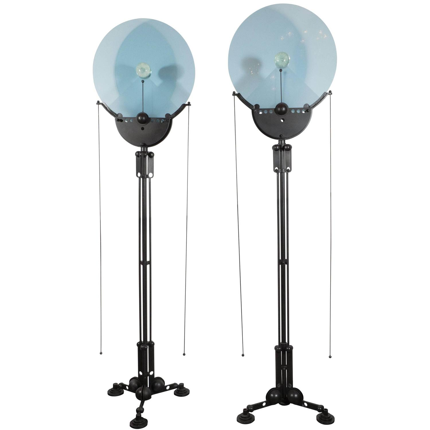 pair of structural memphis industrial style floor lamps with murano. Black Bedroom Furniture Sets. Home Design Ideas