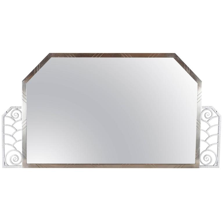 Art Deco Hammered and Nickeled Iron Mirror in the Manner of Edgar Brandt