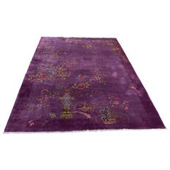 Exotic Chinese Art Deco Rug in Shades of Lilac Purple and Mauve Wool, circa 1925