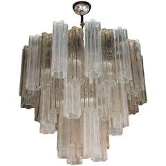 Murano Three-Tier Smoked and Clear Tronchi Chandelier with Chrome Fittings