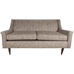 Mid-Century Loveseat with Ribbed Back in the Manner of Dunbar