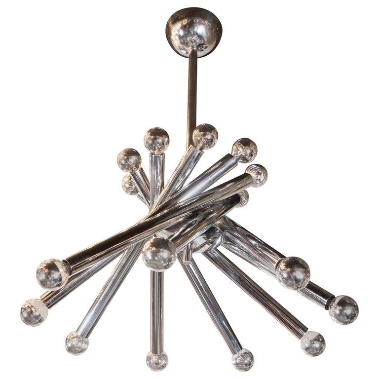 Mid-Century Modernist Tubular Chrome Chandelier in the Manner of Sciolari For Sale