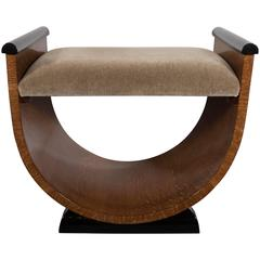 French Art Deco U-Form Stool or Bench in Bookmatched Golden Oak