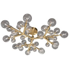 "Brass & Murano Glass Molecular ""Snowflake"" Chandelier by High Style Deco"