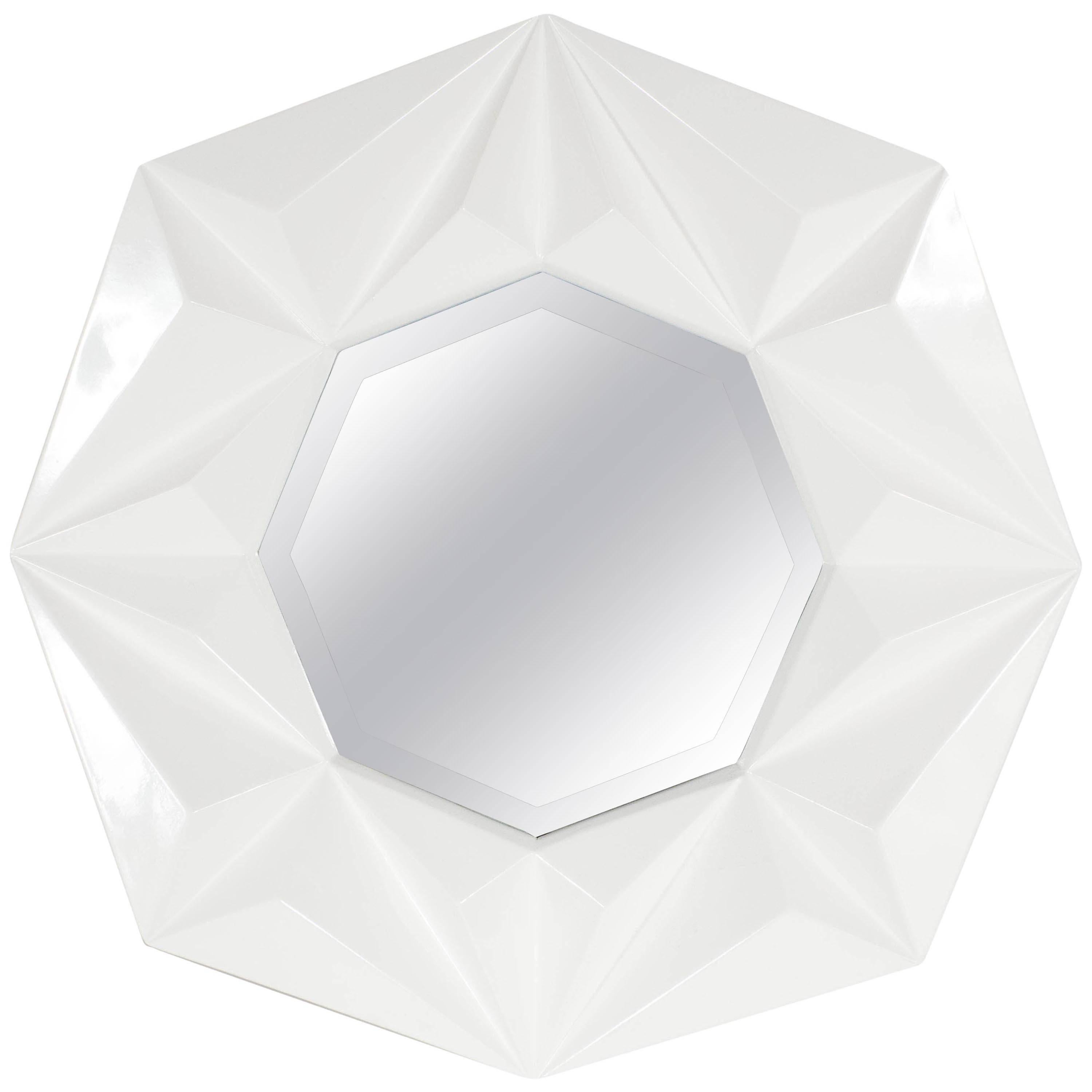 Modernist Faceted Octagonal Mirror in White Lacquer