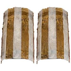 Pair of Mid-Century Modernist Sconces Attributed to Mazzega