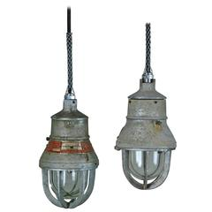 1930 Rare Small Industrial Crouse Hinds Pendant Light