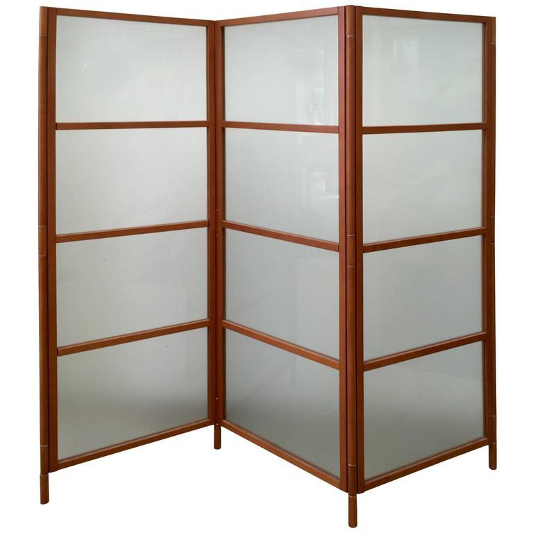 Contemporary Three-Panel Maple Screen