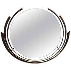 Curtis Jere Brass Framed Round Mirror