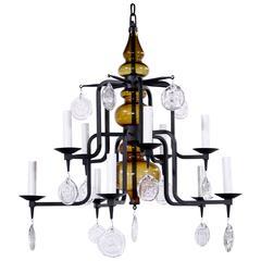 Scandinavian Wrought Iron and Art Glass Chandelier Designed by Erik Höglund