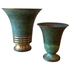 Pair of Bronze Verdigris Vases by Carl Sorenson