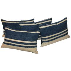 Set of Four Indigo and White Striped Alpaca Bolster Pillows