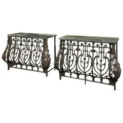 Pair of 19th Century Marble-Top Wrought Iron French Consoles
