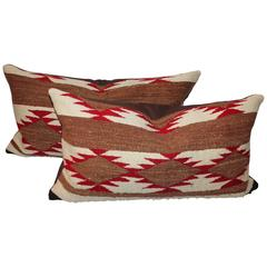 Pair of Navajo Saddle Blanket Weaving Pillows