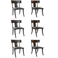 Set of Six Vintage Ebony Stained Klismos Chairs