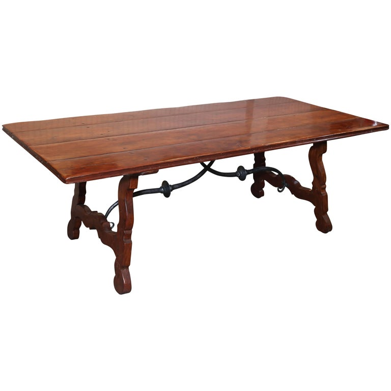 Walnut Trestle Table with Hand-Planed Plank Top