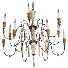 Twelve-Light Two-Tiered Painted Swedish Chandelier