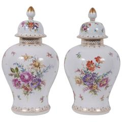 Pair of 19th Century German Covered Jars