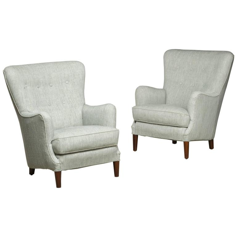 Pair of reupholstered 39 easy chairs 39 danish design for for Reupholstered chairs for sale