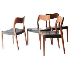 Set of Four Chairs Designed by N.O.Møller