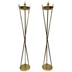 1960 Italian Pair of Monumental Brass Floor Lamps