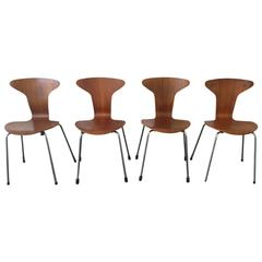 Set of Four No. 3105 Munkegaard or Mosquito Chairs by Arne Jacobsen