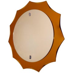 Vintage 1950s Bright Orange Italian mirror, original mid-century
