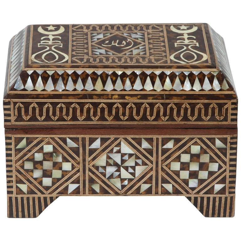 Large Mother-of-Pearl Inlaid Jewelry Box